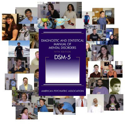 collage of people and DSM5 book