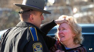 Caregiver interacting with police officer