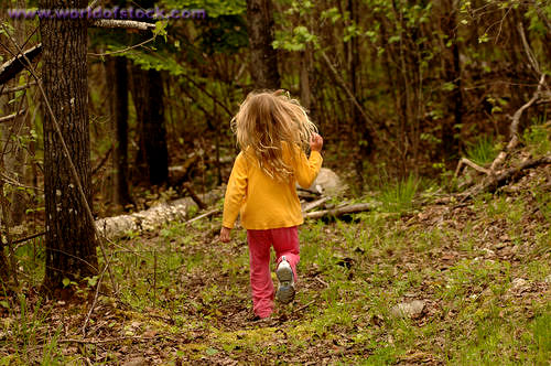 little girl running away
